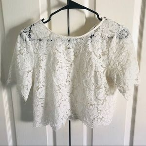 Forever 21 white lace crop top shirt blouse Medium